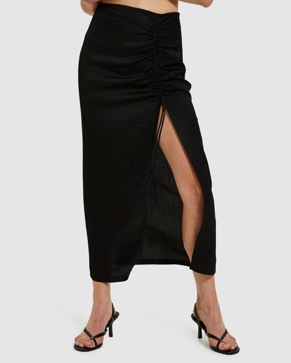 Alice In The Eve Gabbie Silky Ruched Midi Skirt Skirts BLACK