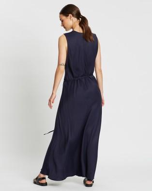 BONDI BORN Fluid V Neck Dress - Dresses (Navy)