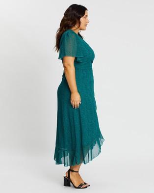 Atmos&Here Curvy Trinity Wrap Front Midi Dress - Printed Dresses (Teal Based Print)
