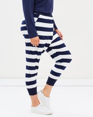 Advocado Plus Wrap Cropped Pants - Pants (Navy Stripe)