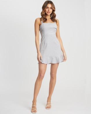 Calli Imogen Mini Dress - Printed Dresses (Grey Houndstooth)