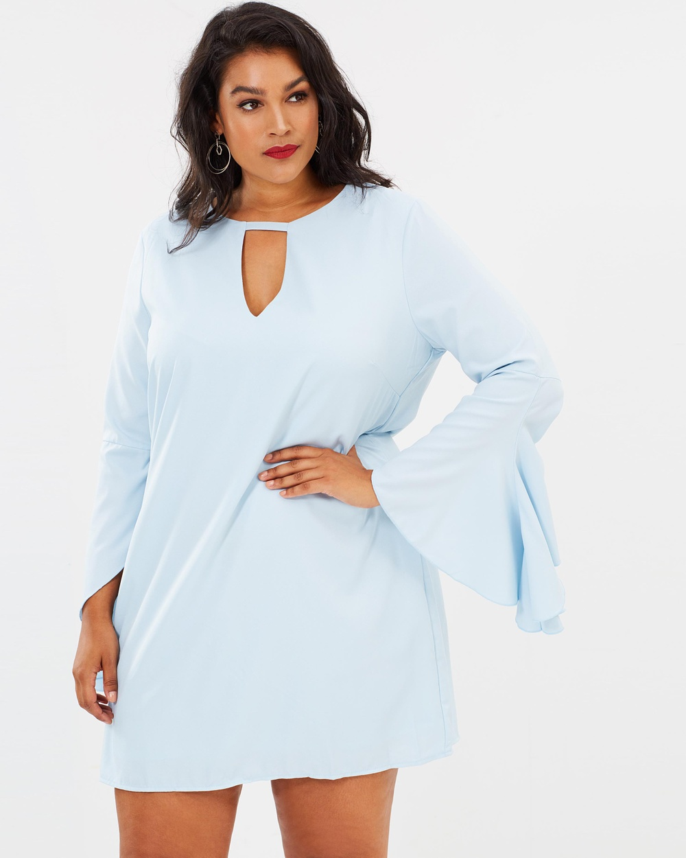Missguided Curve Frill Sleeve Bar Detail Dress Dresses Blue Frill Sleeve Bar Detail Dress