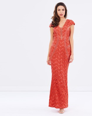 Romance by Honey and Beau – Amelia Cap Sleeve Maxi Coral