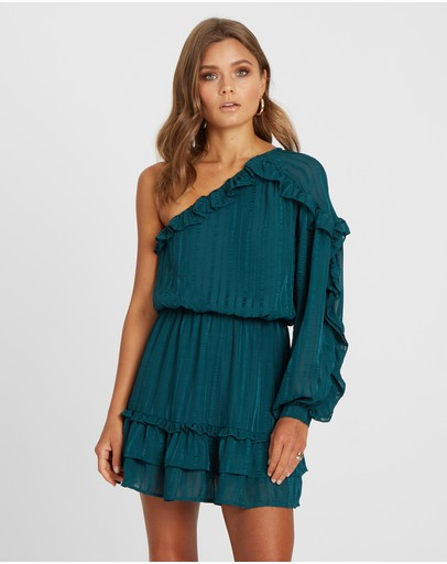 Calli Alexia One Shoulder Dress Dark Green
