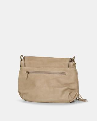 BEE Vasarino Beige Leather Crossbody Bag - Handbags (Beige)