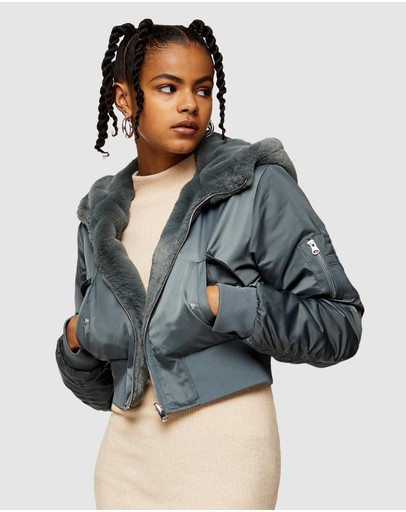 TOPSHOP - Reversible Faux Fur Trim Hooded Bomber Jacket