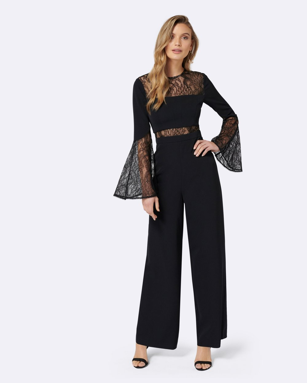 253c81696fc5 Ryder Lace Flare Sleeve Jumpsuit by Forever New Online