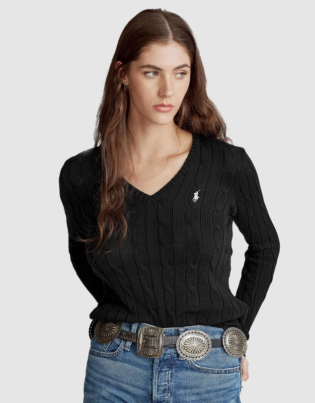 Polo Ralph Lauren - Kimberly Cable Cotton V-Neck Sweater
