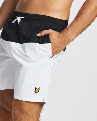 Lyle and Scott Half Split Swim Shorts - Swimwear (Jet Black & White)