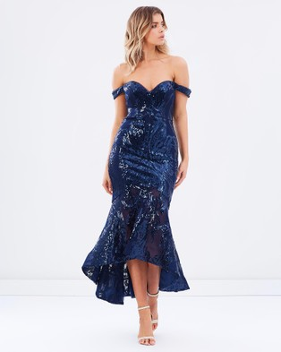 Bariano – Carole Off The Shoulder Pattern Sequin Gown – Bridesmaid Dresses (Navy)
