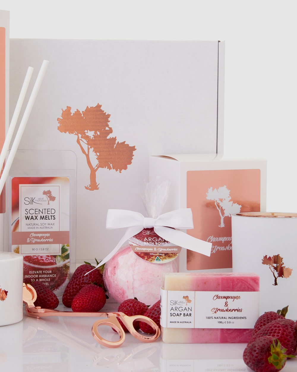 Silk Oil of Morocco Pure Luxe Day Spa Collection Hamper Champagne & Strawberries Home Champagne Strawberries
