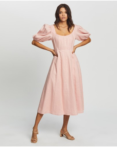 AERE - Puff Sleeve Midi Dress