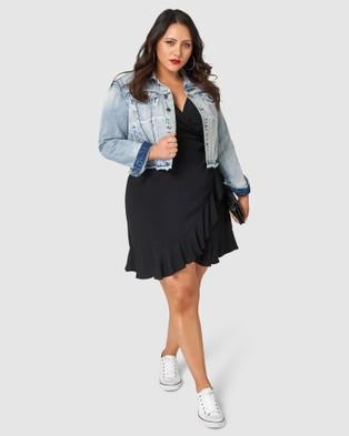 Sunday In The City - Titanium Wrap Dress - Dresses (Black) Titanium Wrap Dress