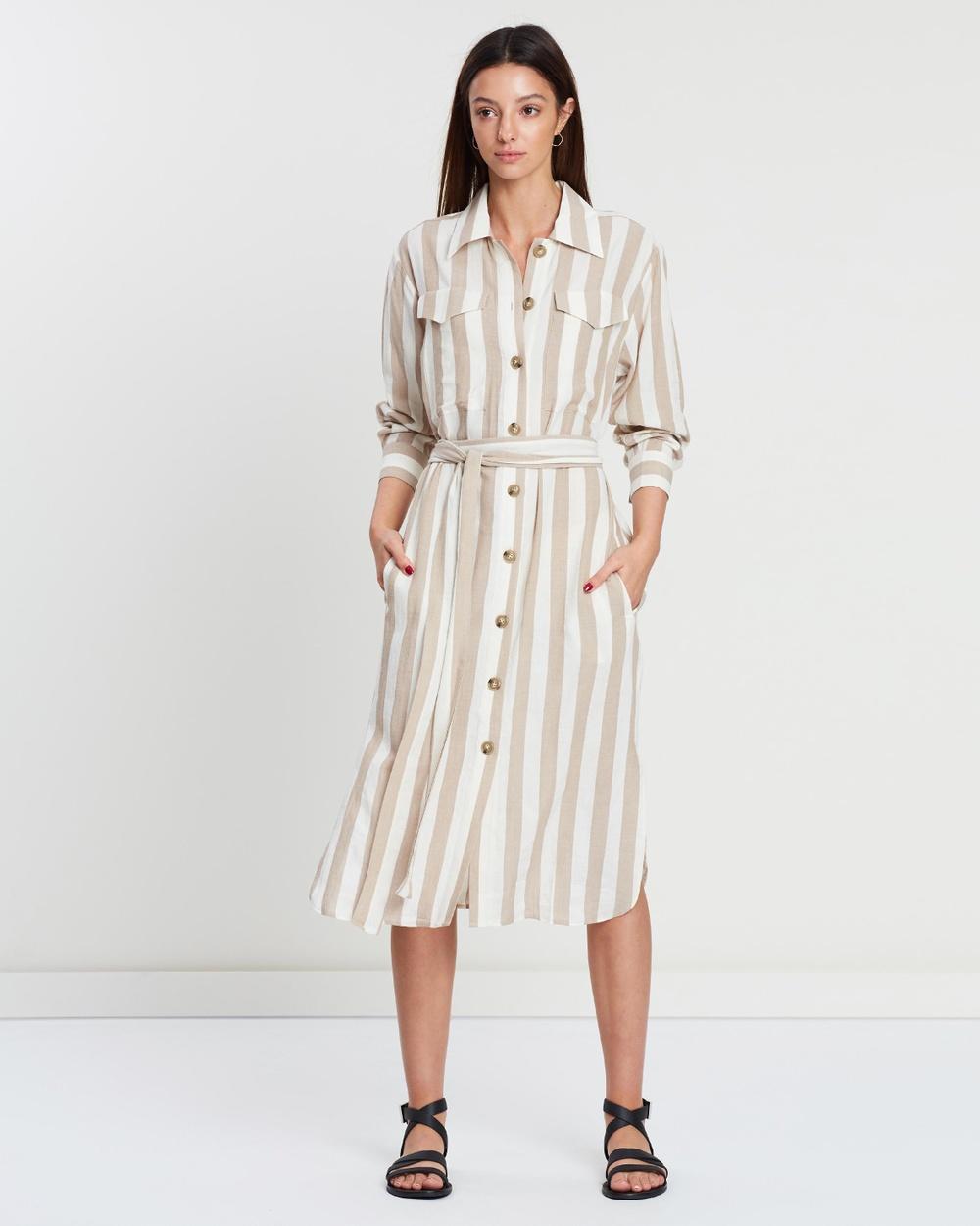 Incu Collection Tan & Ecru Clinton Shirt Dress