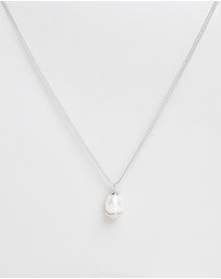 Bianc - Freshwater Pearl Cap Pendant on Long Necklace