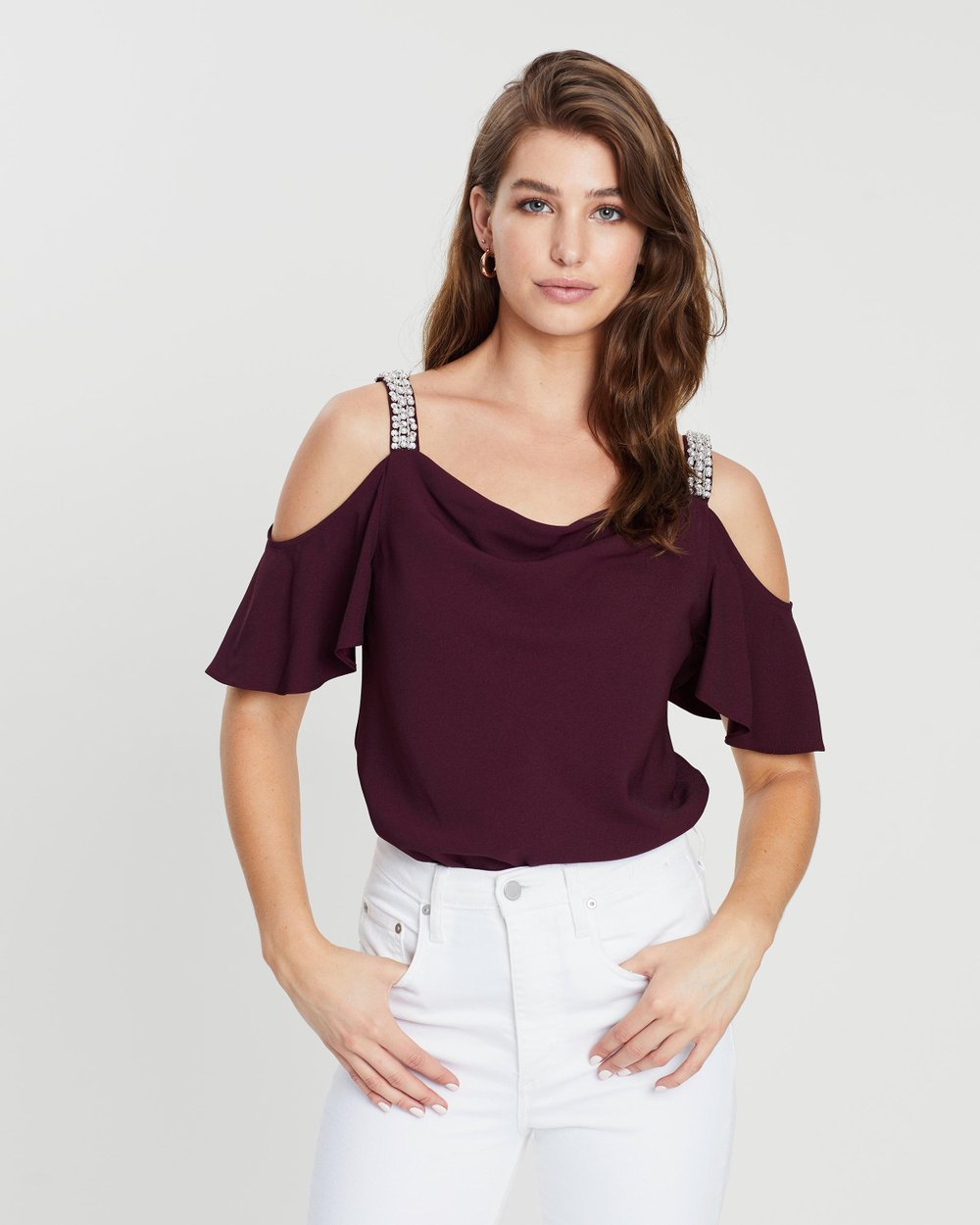 653d641b32a4d Embroidered Pearl Cold Shoulder Top by Dorothy Perkins Online