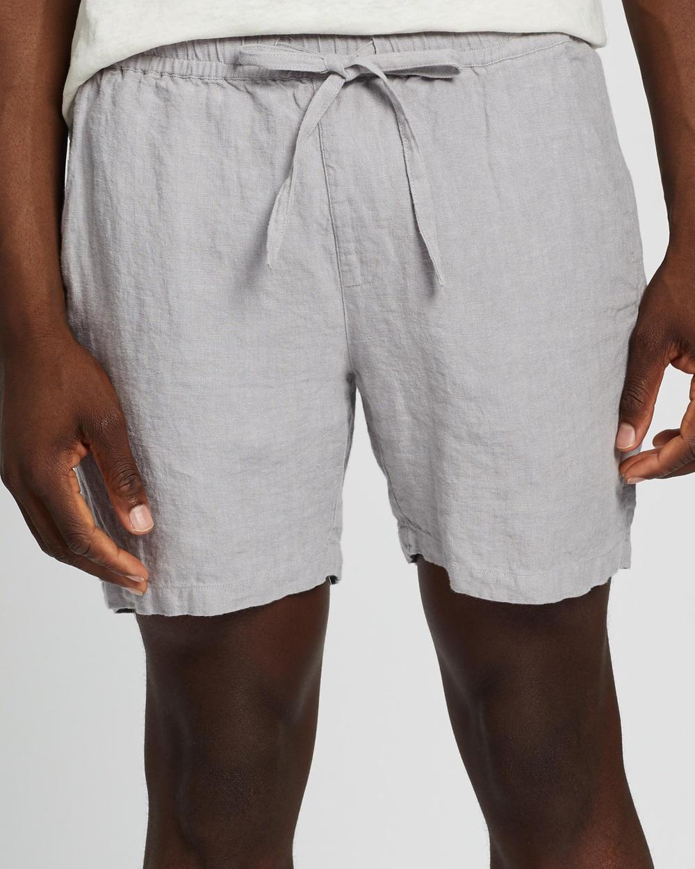 AERE Linen Pull On Shorts Grey