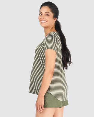 Pea in a Pod Maternity Matilda Nursing Tee - T-Shirts & Singlets (Khaki White Stripe)