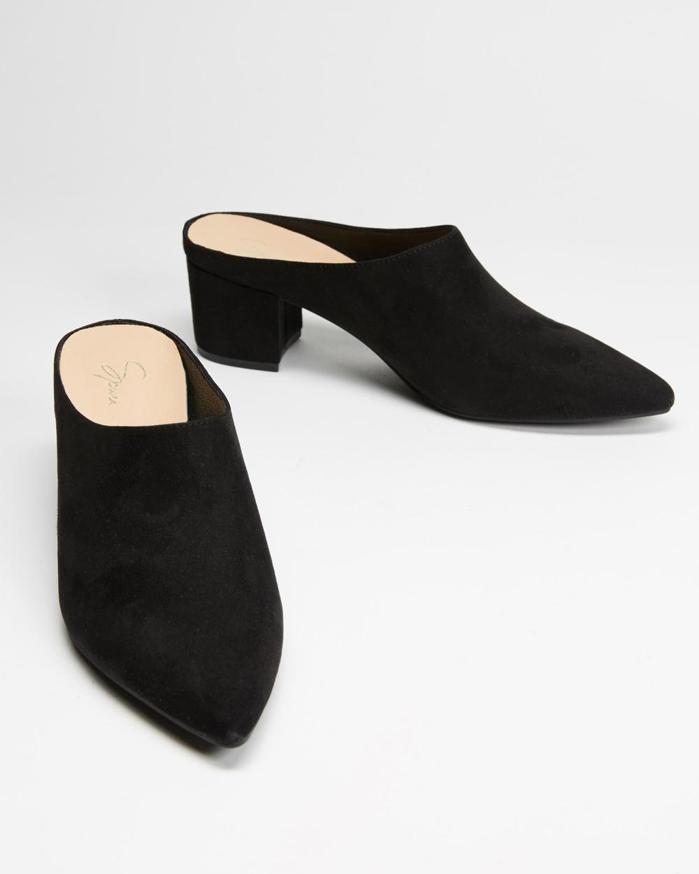 SPURR Lopez Heels Mid-low heels Black Microsuede Australia