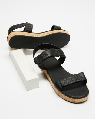AERE Quilted Leather Cork Sandals - Shoes (Black Leather)