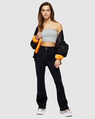 TOPSHOP Petite Petite Joni Skinny Flare Jeans - High-Waisted (Washed Black)