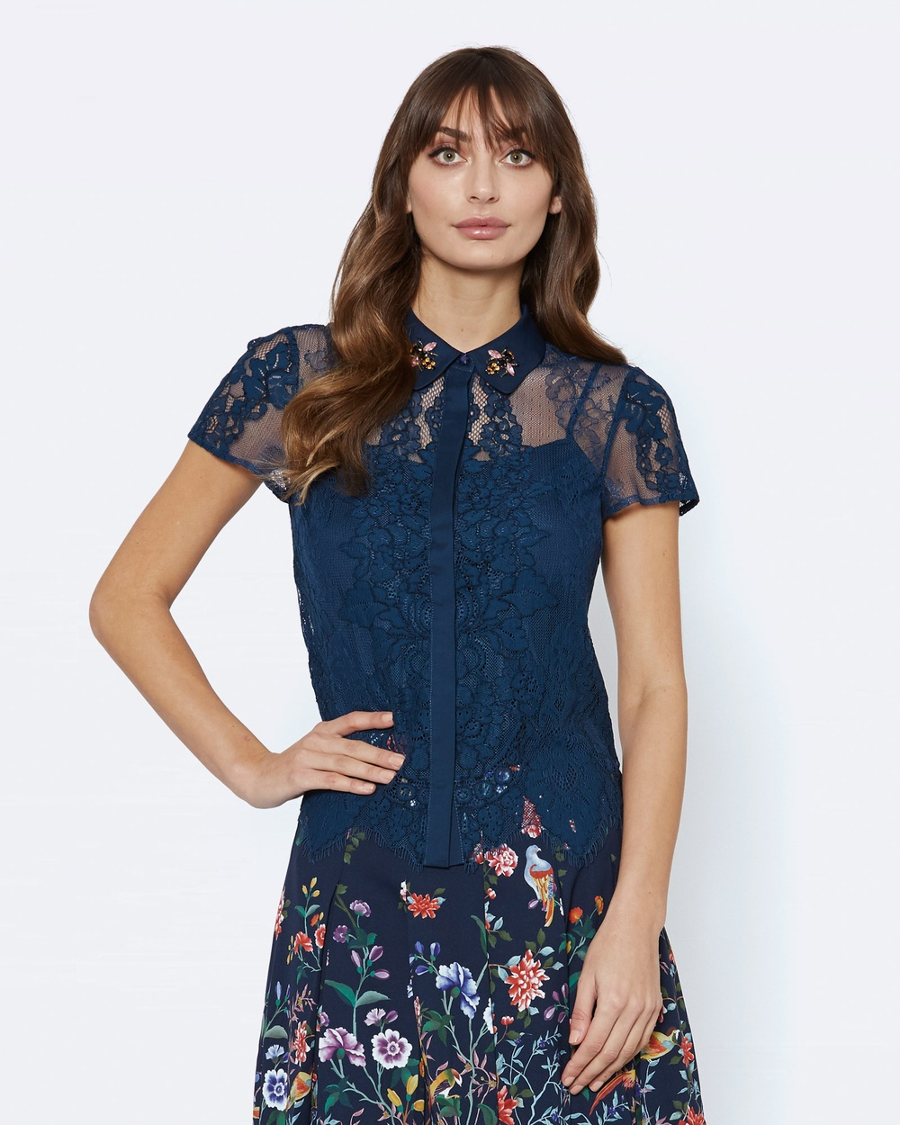 Alannah Hill Bee Mine Lace Blouse Tops Blue Bee Mine Lace Blouse