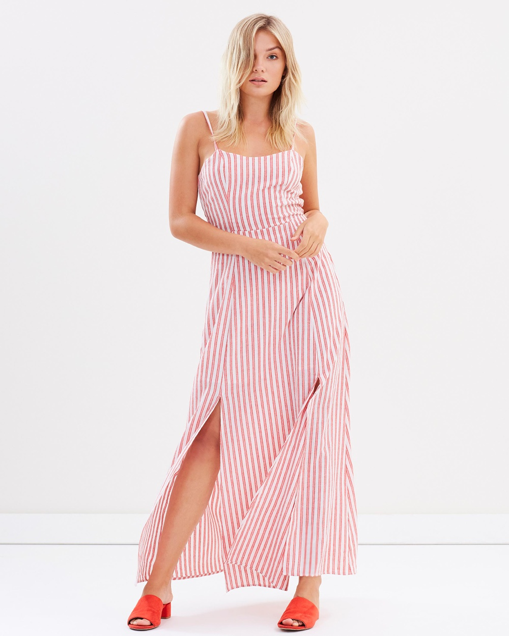 Atmos & Here ICONIC EXCLUSIVE Tamara Maxi Dress Dresses Red Stripe ICONIC EXCLUSIVE Tamara Maxi Dress