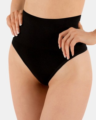 B Free Intimate Apparel 2 Pack Power Shaping Thong - Thongs & G-Strings (Black & Nude)