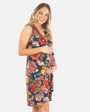 Angel Maternity Maternity Wrap Nursing Dress - Printed Dresses (Red Print)
