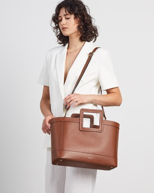 Fall The Label Tan Square Handle Leather Tote - Bags (Tan All Leather)