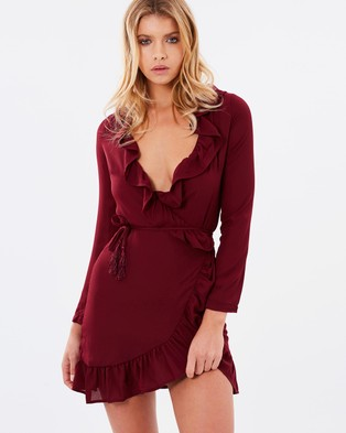 Lioness – Tuscan Fling Ruffle Dress Wine