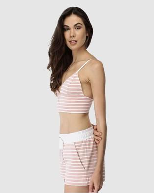 Deshabille Sleepwear  Santa Monica Shorts - Sleepwear (Blush/White)