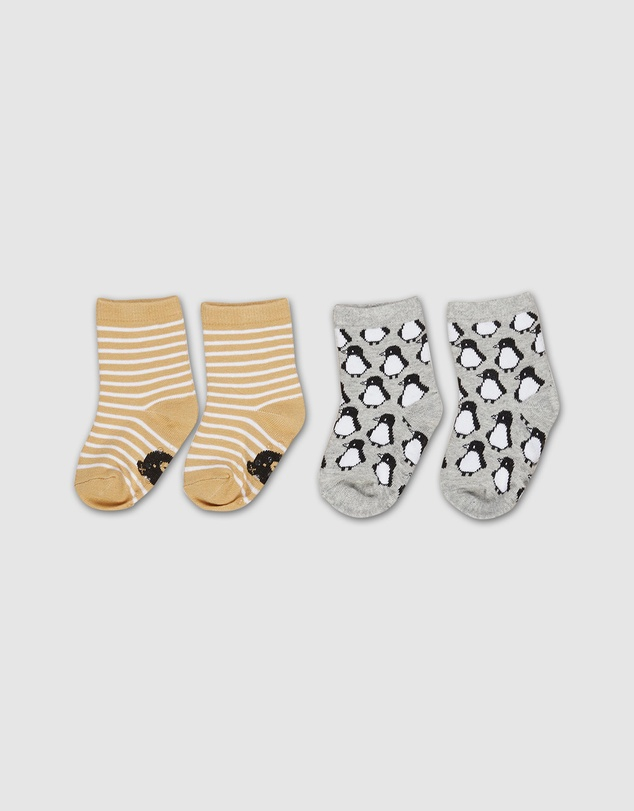 Huxbaby - Stripe & Penguin Socks 2-Pack - Babies-Kids