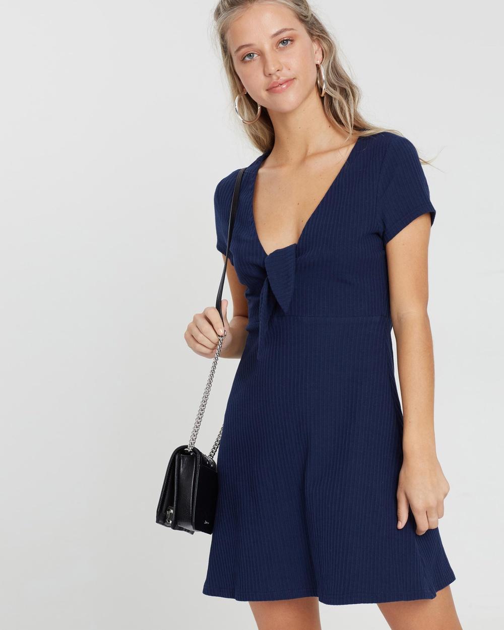 MINKPINK Comfort Textured Tie Dress Dresses Navy Comfort Textured Tie Dress