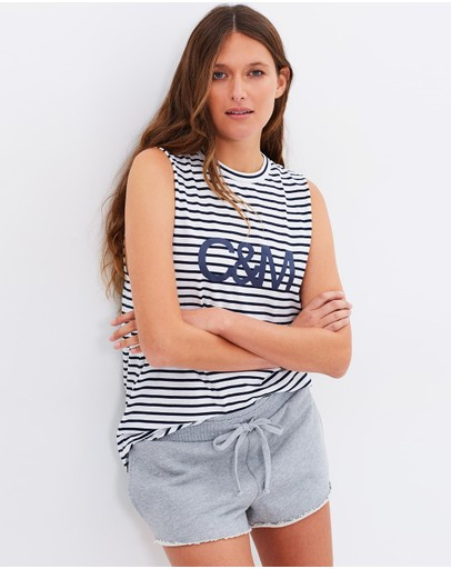 C & M Camilla and Marc - Argenta Stripe Muscle Tank