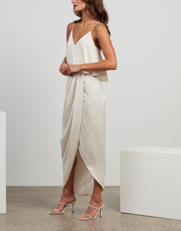 Women Luxe Draped Cocktail Frill Dress