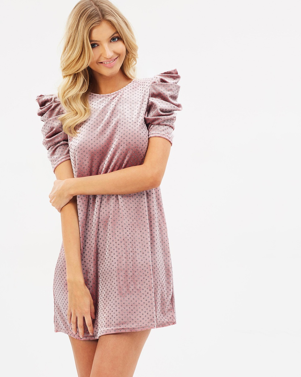 Miss Selfridge Glitter Spot Prawn Sleeve Dress Dresses Pink Glitter Spot Prawn Sleeve Dress