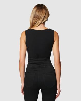 Forever New Celine Asymmetrical Bodysuit - Tops (Black)