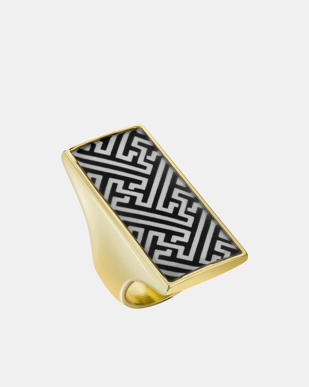Florence Broadhurst Chinese Key Finger Ring Jewellery Black/White