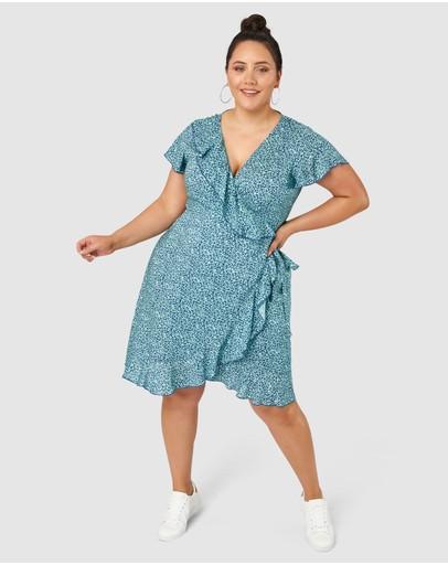 Indigo Tonic Parker Wrap Print Midi Dress Mint Navy Ditsy