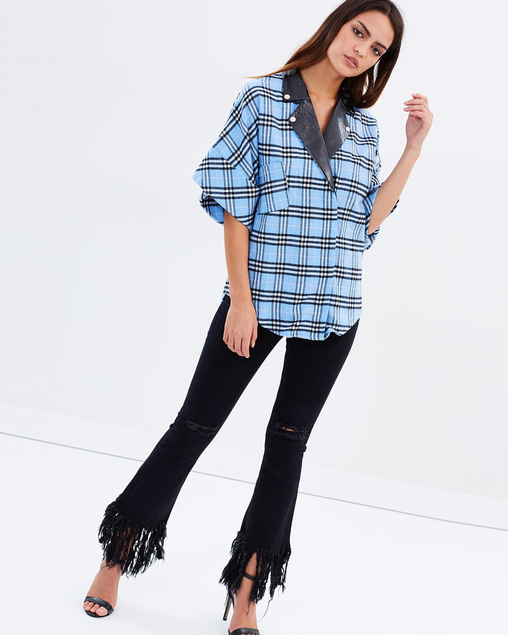 Asilio Radioactive Shirt Tops Powder Blue Tartan Radioactive Shirt