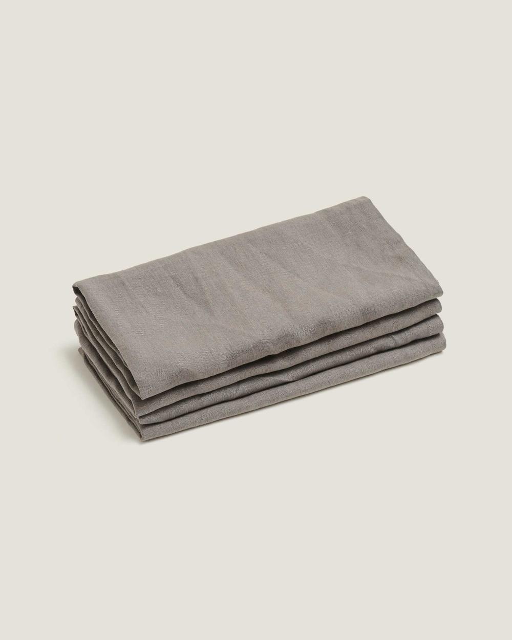 Carlotta + Gee 100% Linen Napkin Set Home Grey Australia