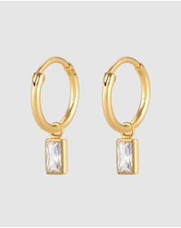 Elli Jewelry - Earrings Creoles with Zirconia Crystals in 925 Sterling Silver gold plated