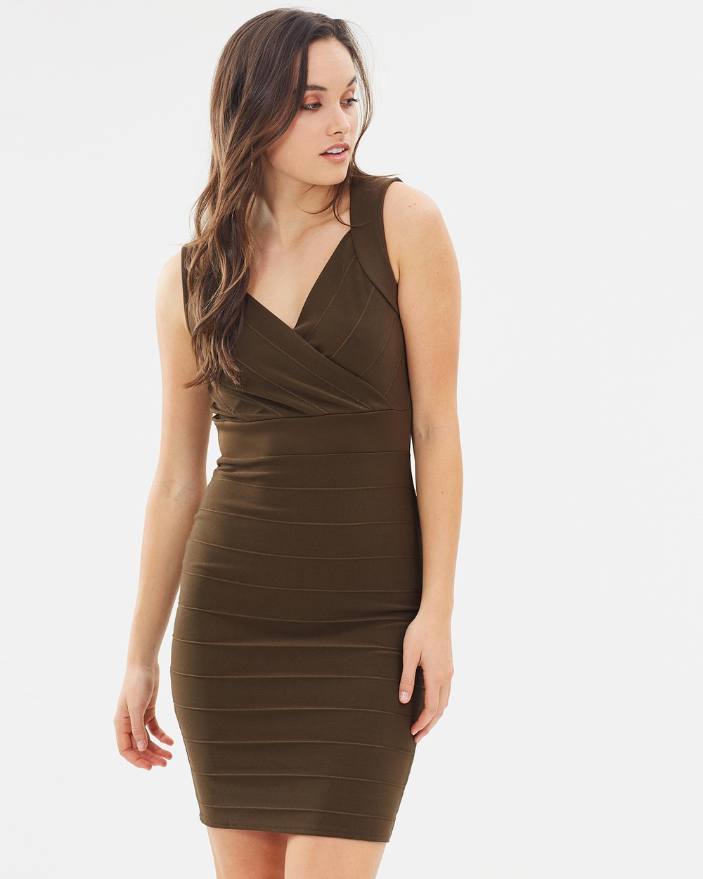 Dorothy Perkins Sweetheart Bandage Dress Bodycon Dresses Olive Sweetheart Bandage Dress
