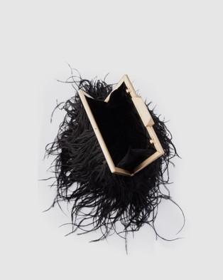 Olga Berg Ozzy Feather Framed Bag - Handbags (Black)