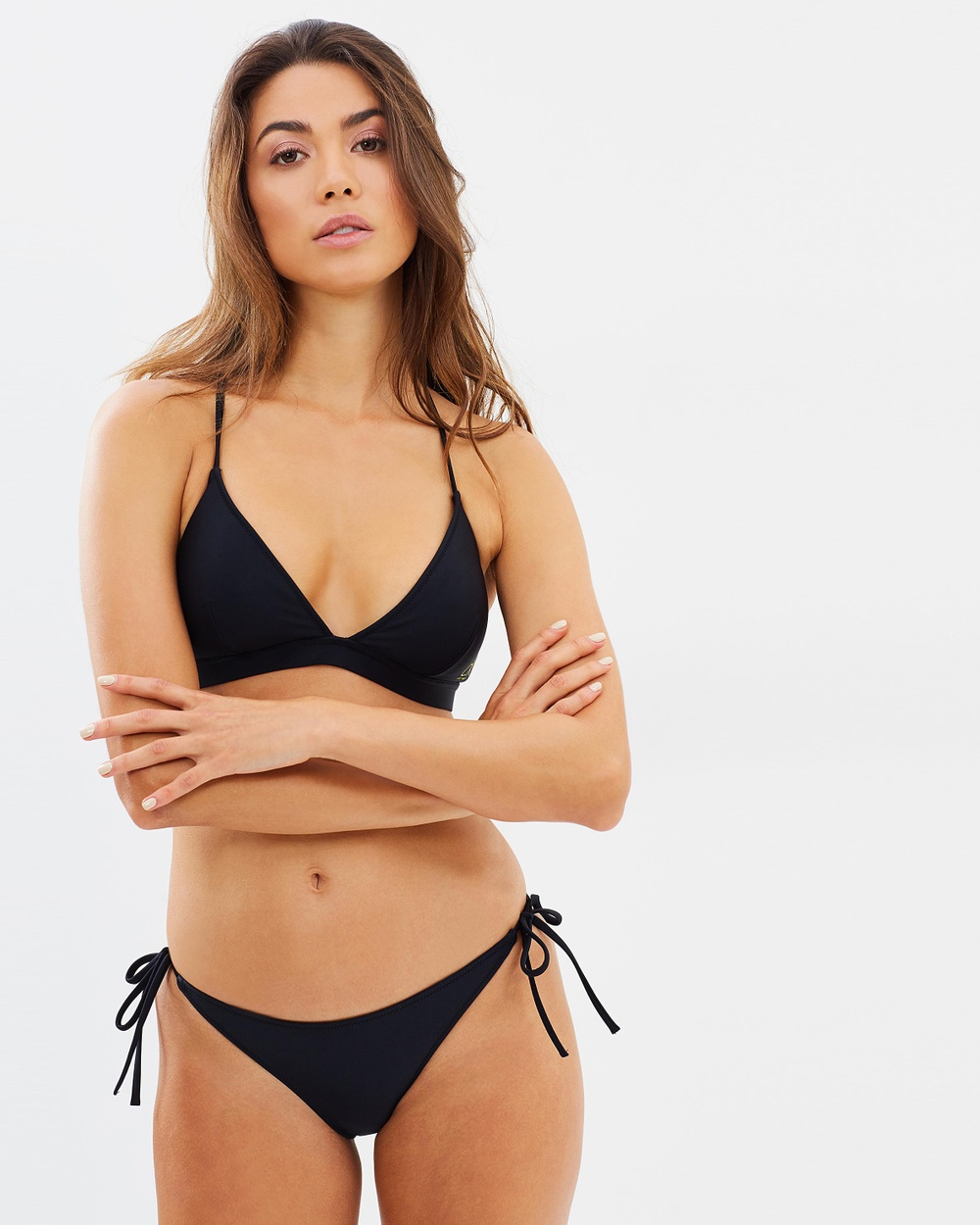 CK Swim Triangle Removable Padding Top Bikini Tops PVH Black Triangle Removable Padding Top