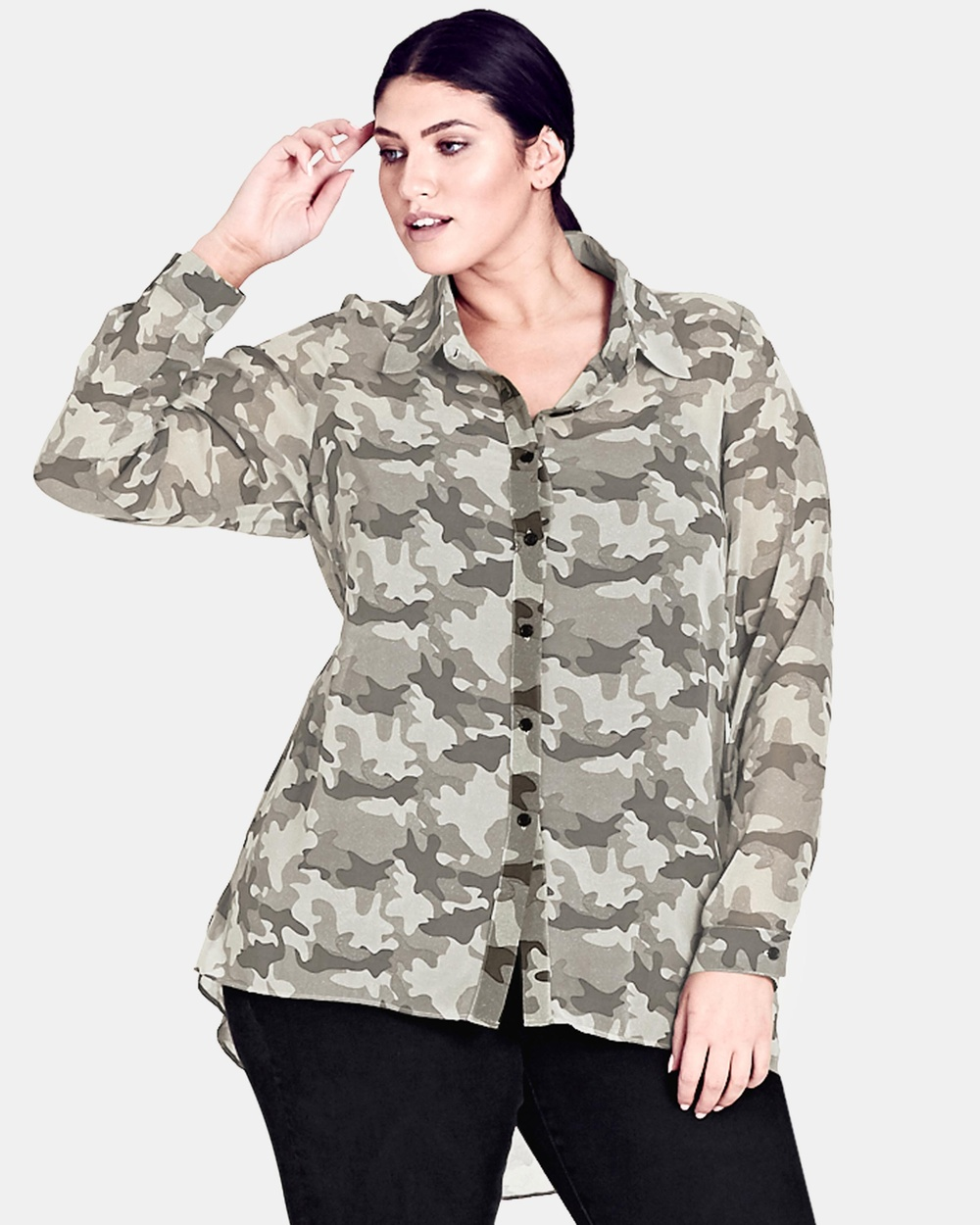City Chic Camo Shirt Tops Camo Camo Shirt