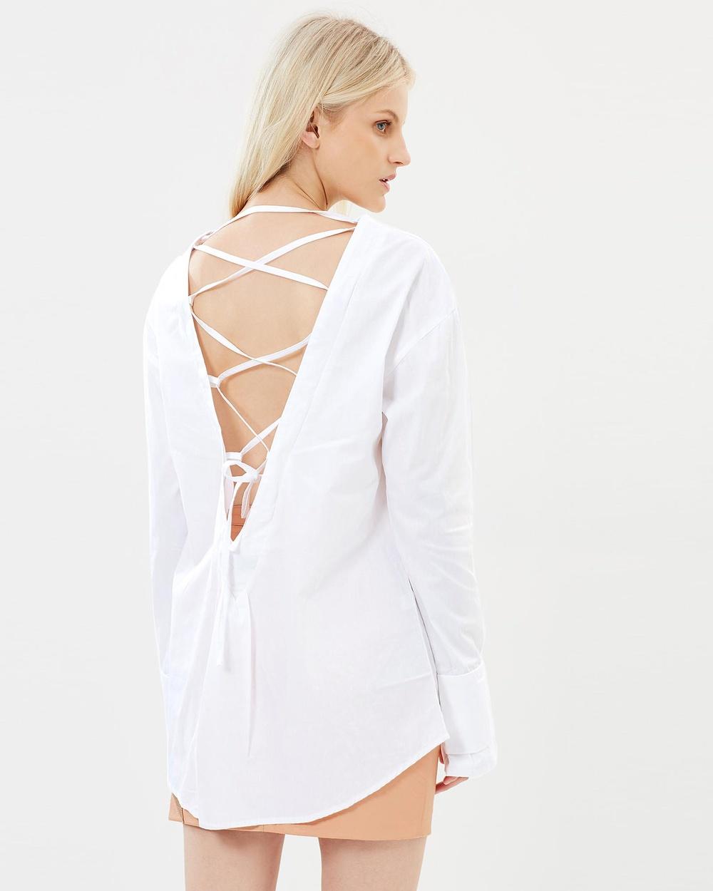 Isabelle Quinn Helena Shirt Tops White Helena Shirt