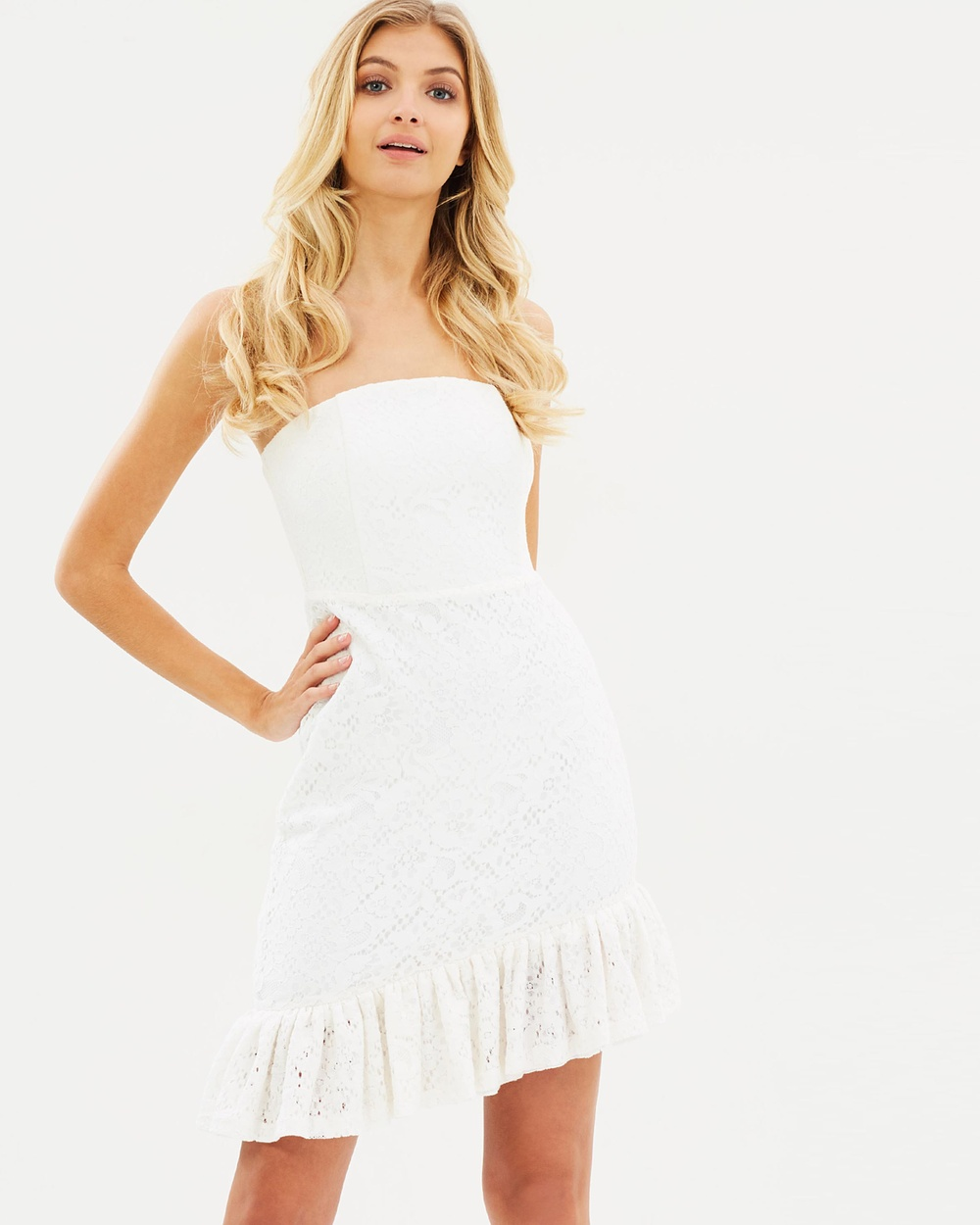 Atmos & Here ICONIC EXCLUSIVE Kaylee Strapless Lace Dress Dresses White ICONIC EXCLUSIVE Kaylee Strapless Lace Dress