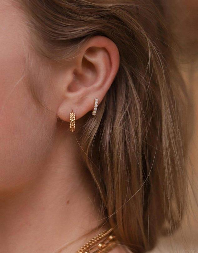 Women Gold Opalite Huggies